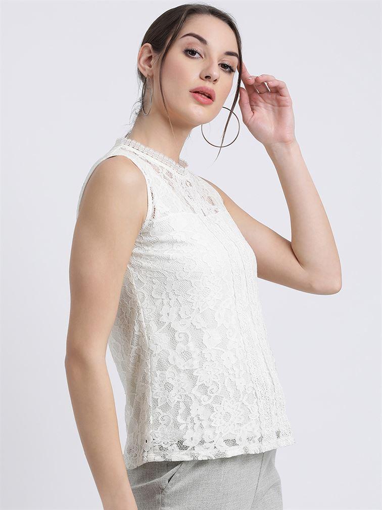 Zink London Women's White Solid Regular Top