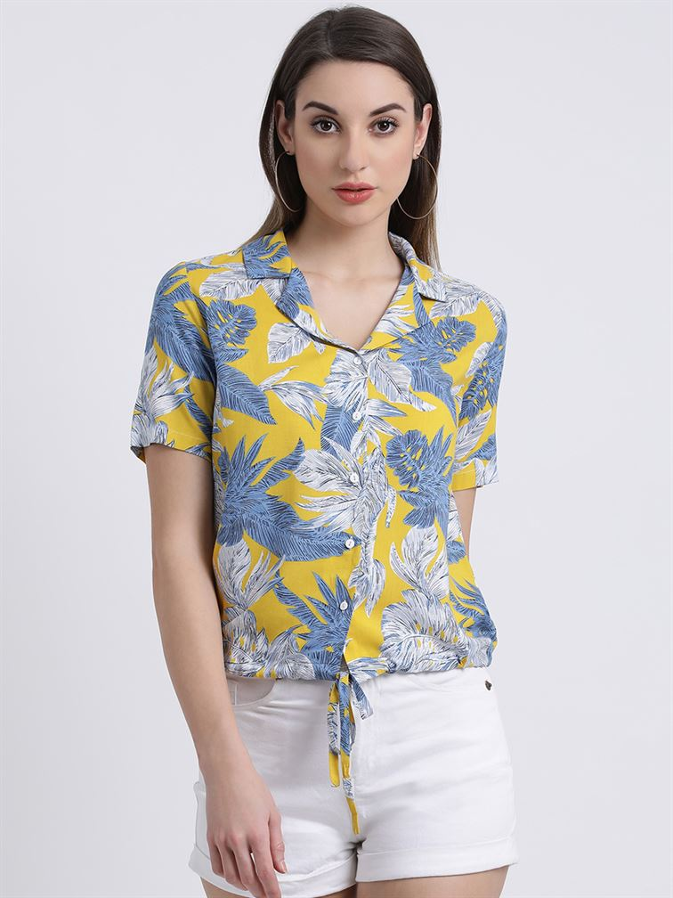 Zink London Women's Yellow Printed Shirt Style Top