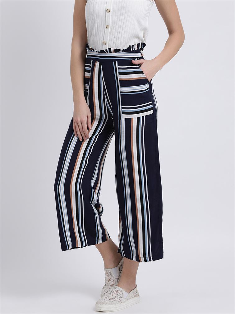Zink London Women's Blue Striped High-Rise Parallel Trouser