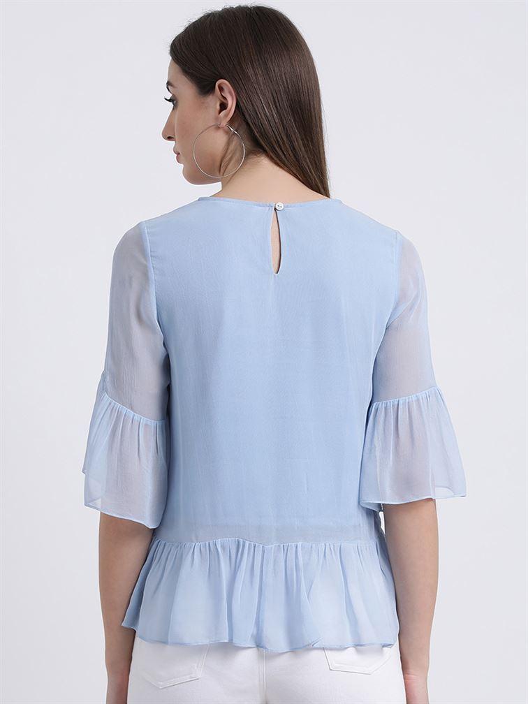 Zink London Women's Blue Embroidered Peplum Top