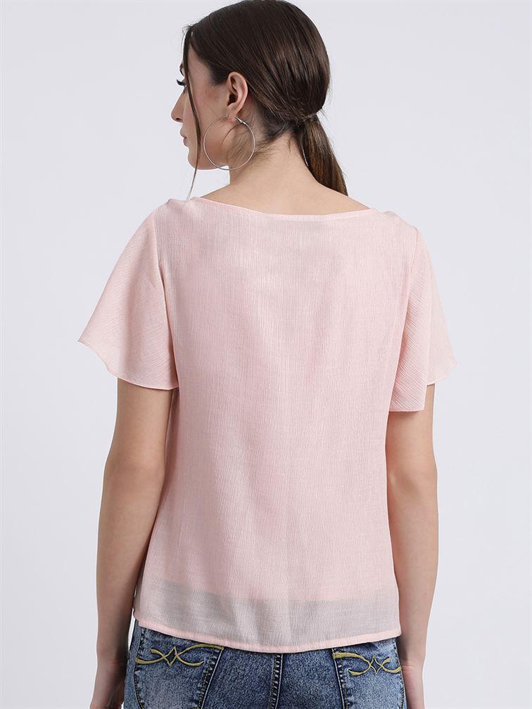 Zink London Women's Peach Solid Regular Top