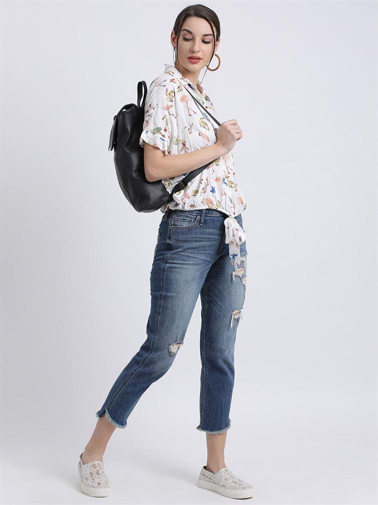 Zink London Women's White Animal Print Shirt Style Top