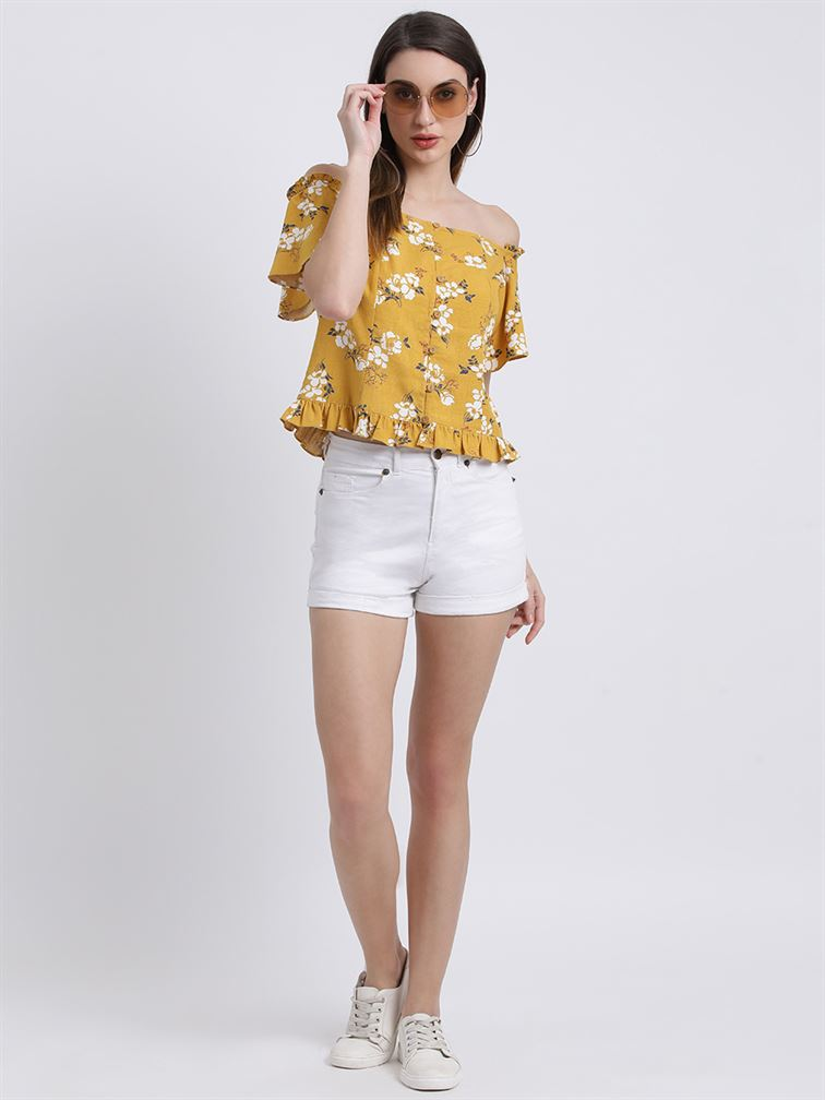 Zink London Women's Yellow Floral Print Bardot Top