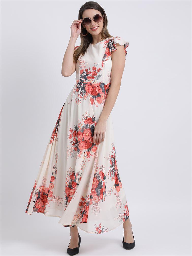 Zink London Women's White Floral Print Maxi Dress