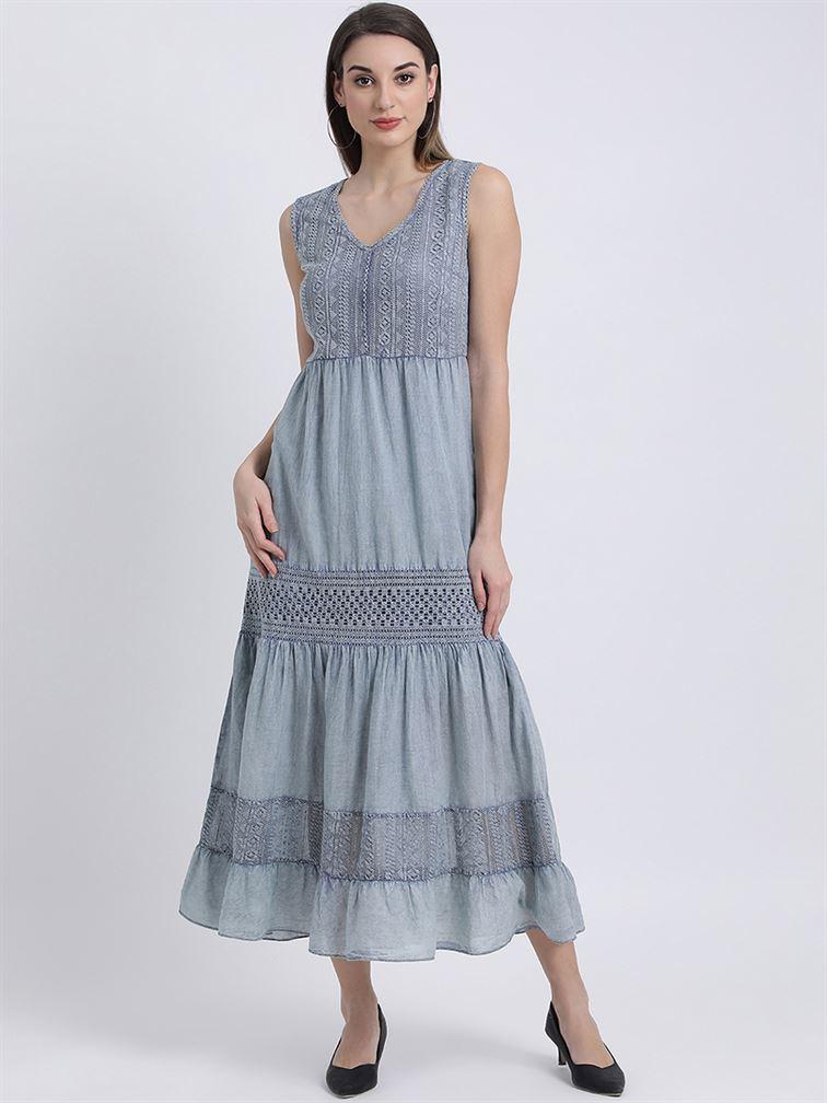 Zink London Women's Blue Self Design Fit & Flare Dress