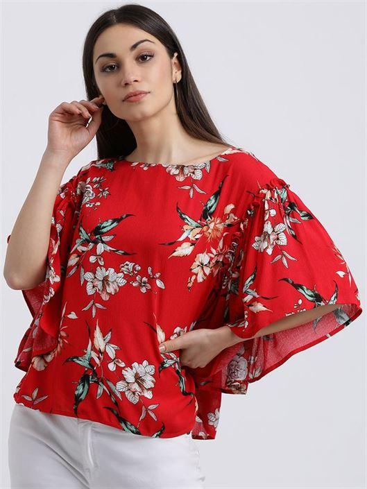 Zink London Women's Red Floral Print Blouson Top