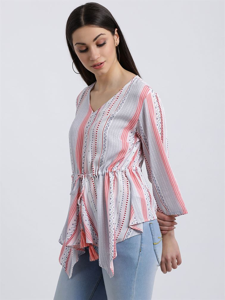 Zink London Women's White Striped Kaftan Top