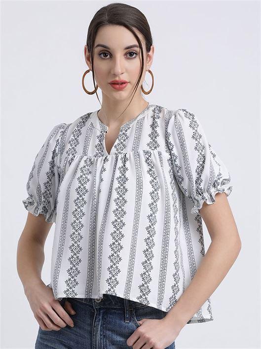 Zink London Women's White Striped Boxy Top