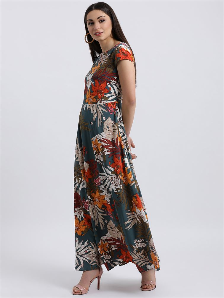 Zink London Women's Teal Floral Print Maxi Dress