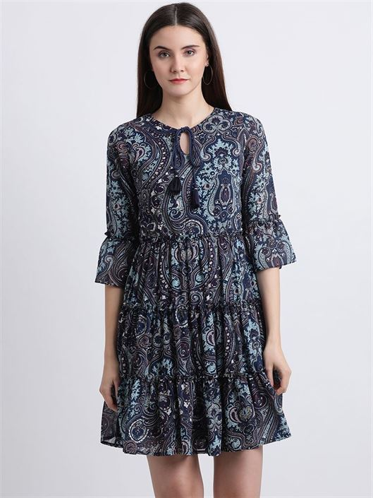 Zink London Women's Blue Paisley Printed Fit and Flare Dress