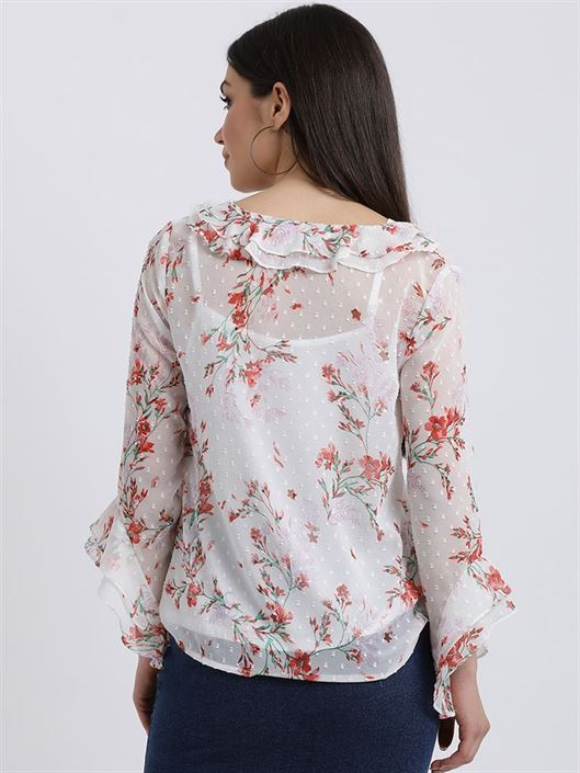 Zink London Women's White Floral Print Regular Top