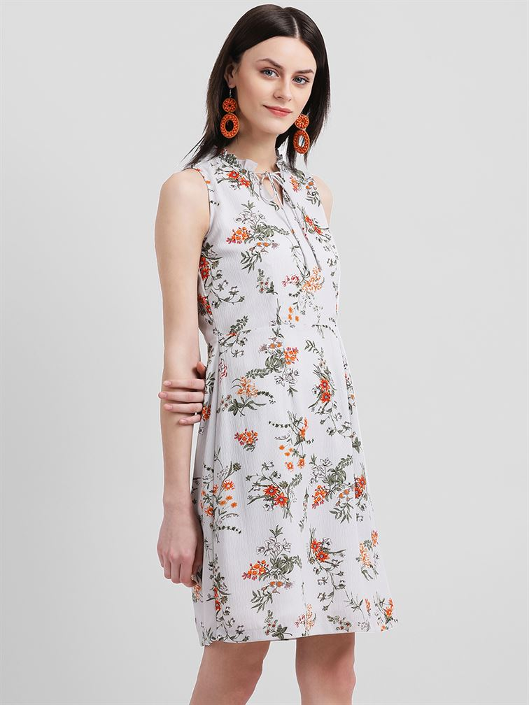 Zink London Women's Grey Floral Print Sheath Dress
