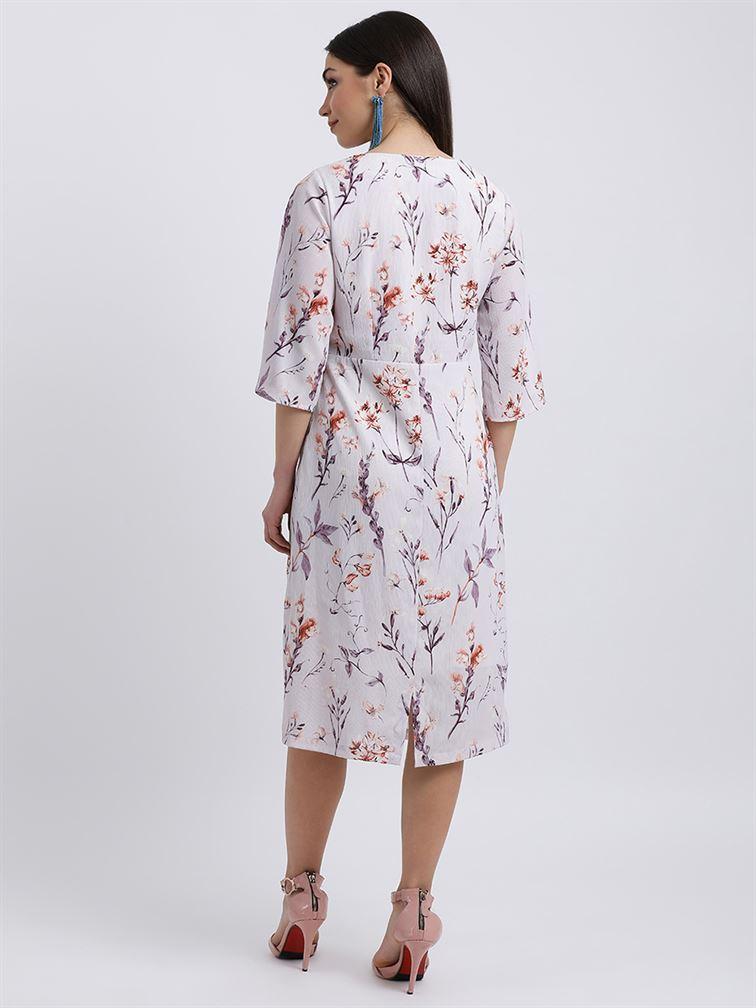 Zink London Women's Violet Floral Print Sheath Dress