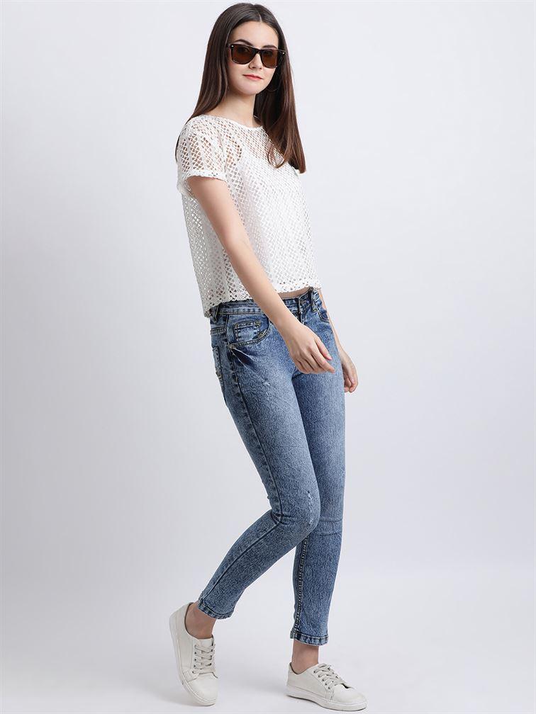 Zink London Women's White Self Design Regular Top