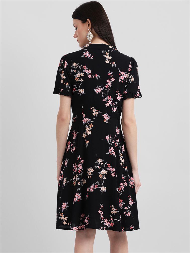 Zink London Women's Black Floral Print A-Line Dress