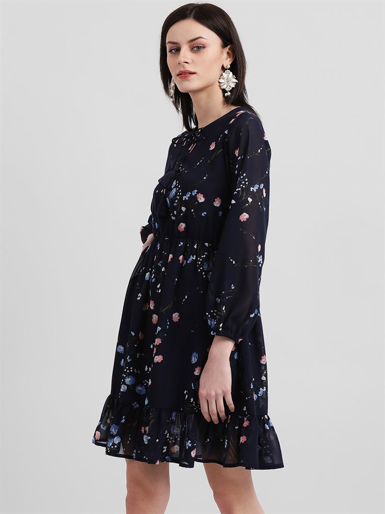 Zink London Women's Blue Floral Print A-Line Dress