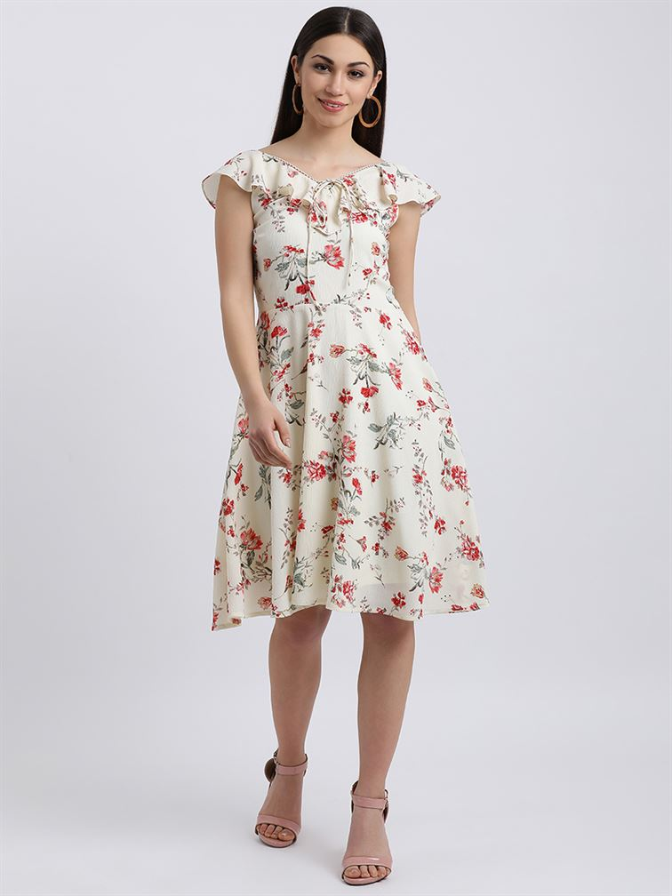 Zink London Women's Off White Floral Print A-Line Dress