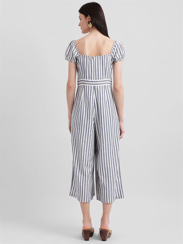 Zink London Women's White Striped Culotte Jumpsuit