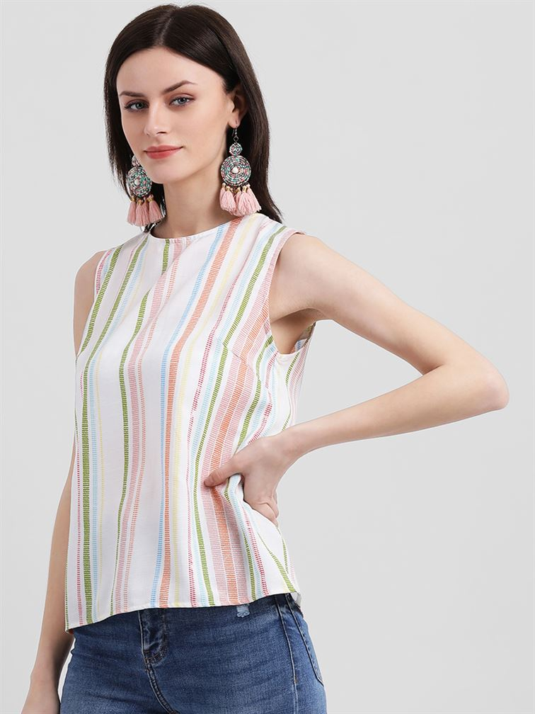 Zink London Women's White Striped Regular Top