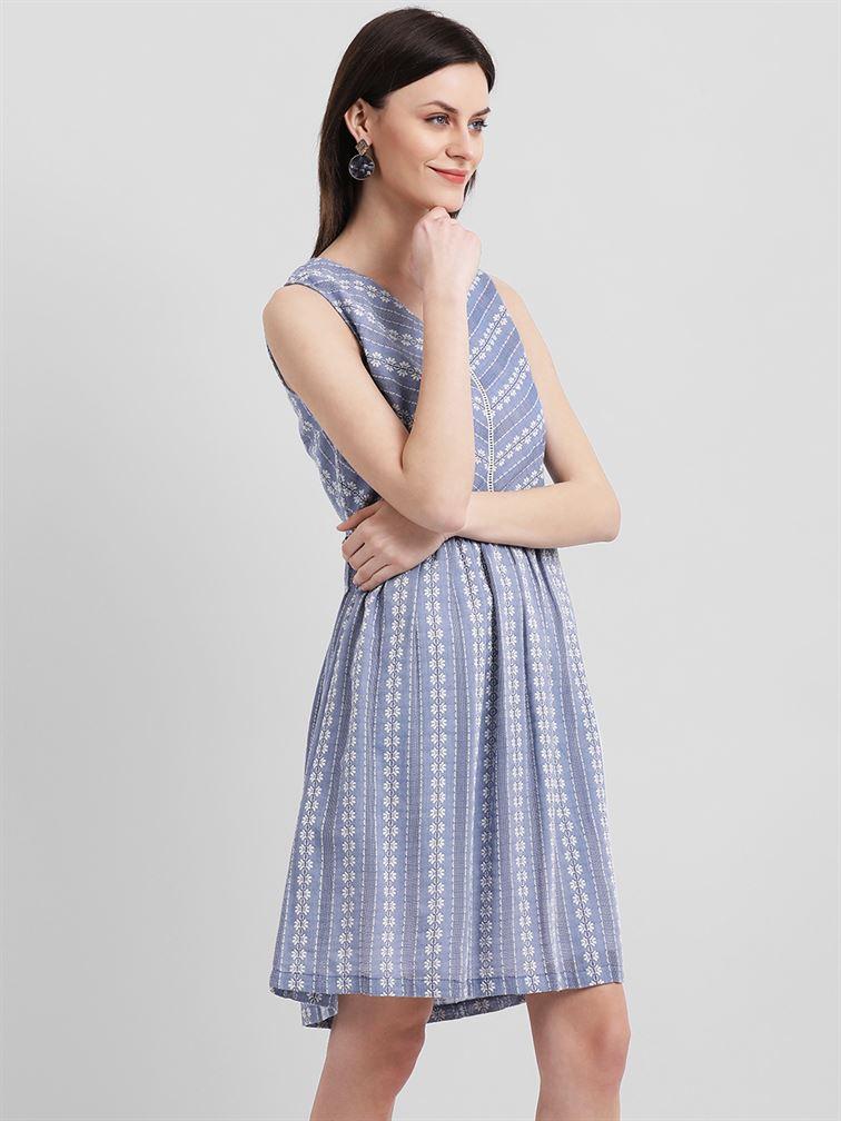 Zink London Women's Blue Self Design A-Line Dress