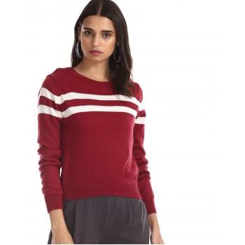 Aeropostale Women Casual Wear Maroon  Sweater
