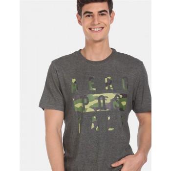Aeroppostale Men Casual Wear Grey T-Shirt