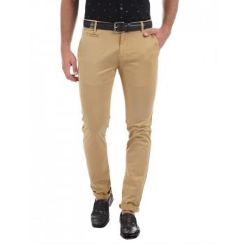 Aeropostale Men Casual Wear Solid  Khaki Trouser