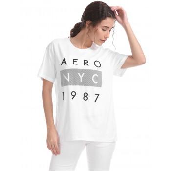 Aeropostale Women Casual Wear White T-Shirt