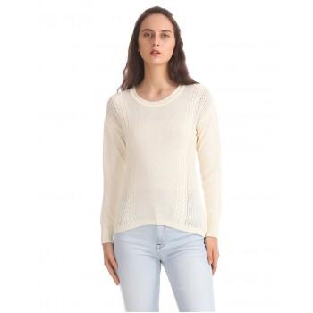 Aeropostale Women Casual Wear Off White Sweater