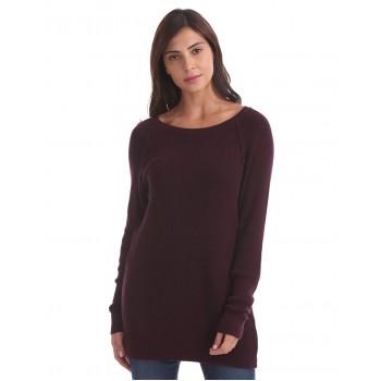 Aeropostale Women Casual Wear Burgundy Sweater