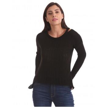 Aeropostale Women Casual Wear Black  Sweater