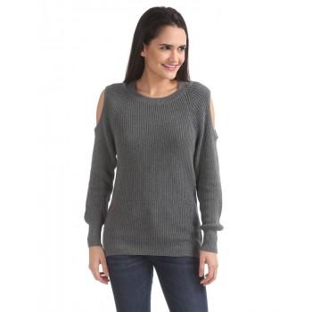 Aeropostale Women Casual Wear Grey Sweater