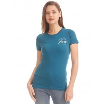 Aeropostale Women Casual Wear Solid T-Shirt