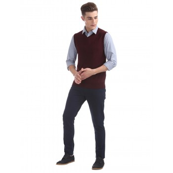 Arrow Men Casual Wear Solid Sweater