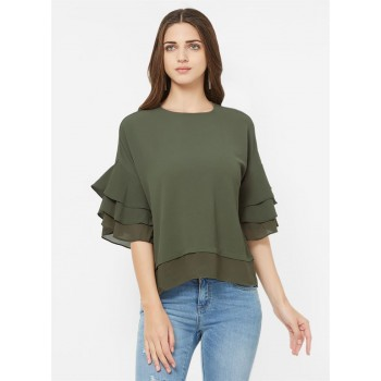 Bebe Women Casual Wear Khaki Top