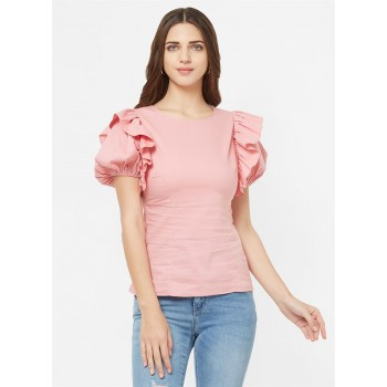 Bebe Women Casual Wear Pink Top