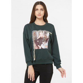 Bebe Women Casual Wear Green Sweatshirt
