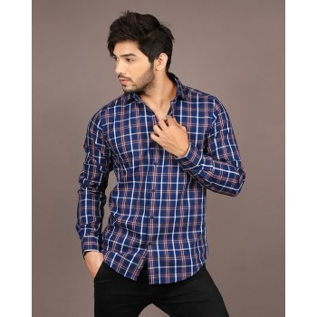 Blackberry Casual Men Casual Wear Checkered Shirt