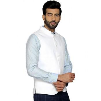 Blackberry Men Casual Wear White Waistcoat