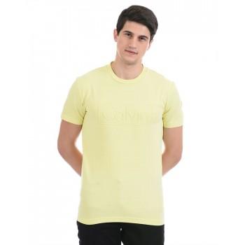 Calvin Klein Men Casual Wear Yellow T-Shirt