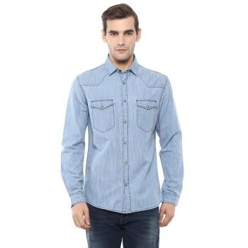 Celio Men's Plain / Solid Regular Fit Casual Wear Denim Shirt