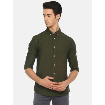 Celio Men Casual Wear Olive Shirt