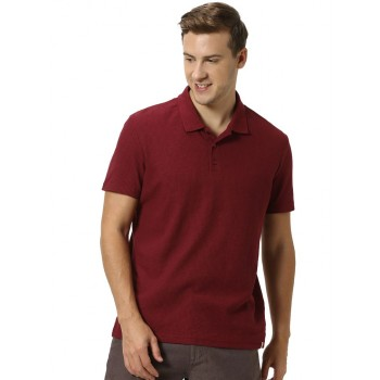 Celio Men's Textured Straight Fit Casual Wear Polo T-Shirt