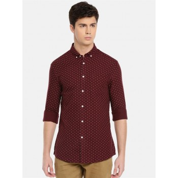Celio Men's Polka Print Slim Fit Casual Wear Shirt