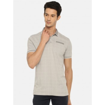 Celio Men's Checkered Regular Fit Casual Wear Polo T-Shirt