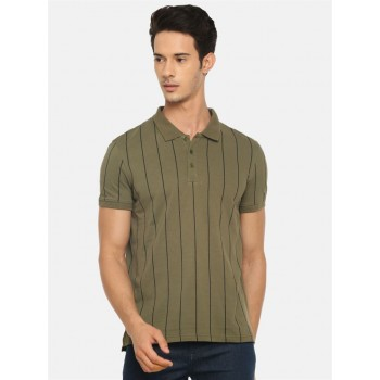 Celio Men's Striped Regular Fit Casual Wear Polo T-Shirt