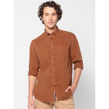 Celio Men Casual Wear Brown Shirt