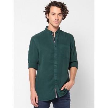 Celio Men Casual Wear Dark Green Shirt