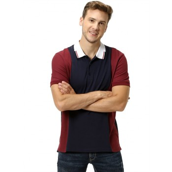 Celio Men's Color Block Straight Fit Casual Wear Polo T-Shirt