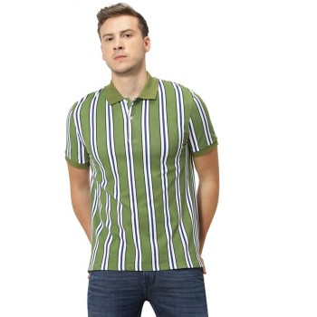 Celio Men's Broad Striped Straight Fit Casual Wear Polo T-Shirt